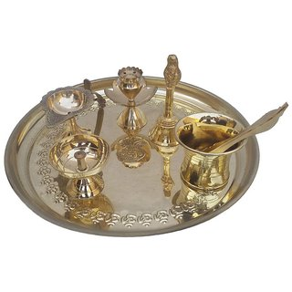 Pooja Thali for home Puja Thaali Brass Set Of 7 Pieces