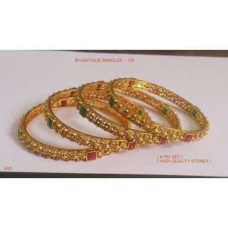Bh Antique Bangles For Women With Golden Colour