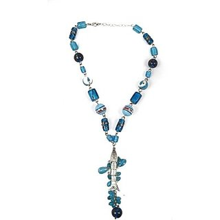 Harp Heartbeat Metal Glass Necklace Heartbeat Blue Necklace
