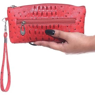 Harp Casual Wedding Party Formal Festive Red Artificial Leather  Clutch Linz-01