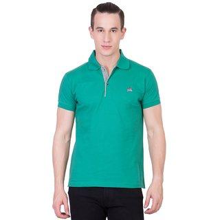 Cliths Mens Green Cotton Polo T-Shirt HS-112-Green