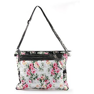 Harp Women Casual Black Leatherette Sling Bag Flowercious Laptop Sleeve Black