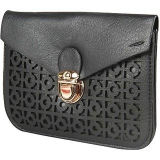 Harp Girls Women Black Leatherette Sling Bag Jaipur Noir