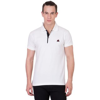 Cliths Mens White Cotton Polo T-Shirt HS-112-White