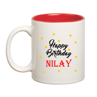Happy Birthday Nilay Inner Red Ceramic Mug (350ml)