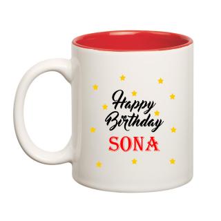 Happy Birthday Sona Inner Red Ceramic Mug (350ml)