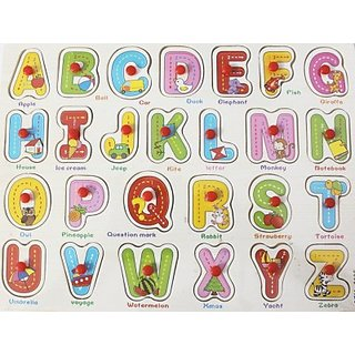Littlegrin English Captial Alphabets And Words Wooden Puzzle With Pegs (26 Pieces)