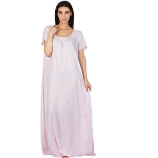 Patrorna Long Length Vibrant Baby Pink Natural Fabric Nighty (Medium) 47f3bad6f