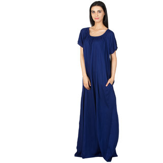 f7d4b0a2bc Buy Patrorna Long Length Vibrant Navy Blue Natural Fabric Nighty (Medium)  Online - Get 7% Off