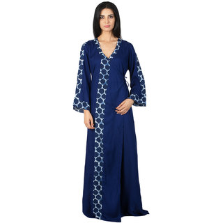 4c21b6d795 Buy Patrorna Long Length Navy Blue with Printed Border Natural Fabric Nighty  (Free) Online - Get 7% Off