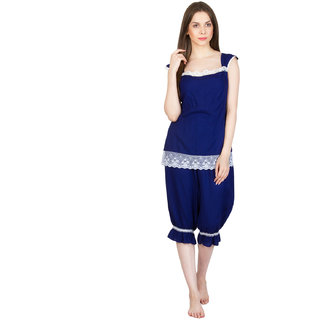 Buy Patrorna Long Length Two Piece Navy Blue Top and Bottom Style with  Chiffon Jacquard Borders Natural Fabric Nightwear (Small) Online - Get 65%  Off 19c84a3c8