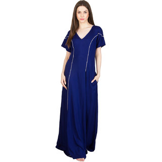 Buy Patrorna Long Length Vibrant Navy Blue With Pink Lining Natural Fabric  Nighty (Medium) Online - Get 14% Off 7c7e2376b
