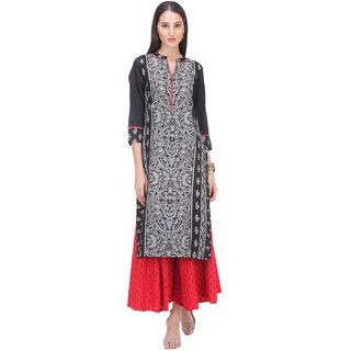 Varanga Black Printed Rayon Stitched Kurti