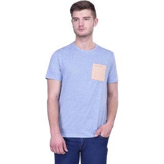 Blue Buddha Half Sleeve Blue Casual Cotton T-Shirt