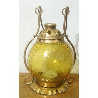 Home decor hanging lantern candle stand yellow color