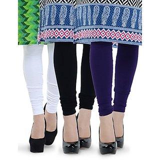 SANRIYA Pack of 3 Original Cotton Lycra-Stretchable Leggings         ( White-Black-Violet )