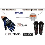 PRO BIKE GLOVES WITH FOX RACING KNEE GUARD INDIAMALL