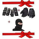 Biking Elbow & Knee Guard- Set Of 4 Pcs-fox + Alpinstar Face Mask+Pro Biker Gloves (Black) XL