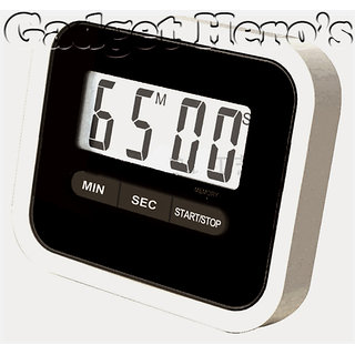 Gadget Heros Compact Lab  Kitchen Timer With Alarm, Large Digital LCD Display. With Table Stand  Fridge Magnet Black