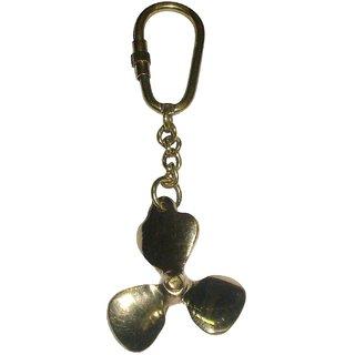 ArtnCrafts Brass Key Ring Fan Blade 95059 (Gold, Pack of 1)