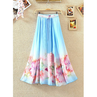 Fabboom Sky Blue Colour Digital Printed Womens Designer Skirt