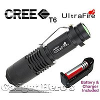 Gadget Heros Pocket LED Mini CREE XR-E Q5 UltraFire Flashlight Torch Adjustable Zoom Beam. 3 Flash Mode. 7W, 400 Lumens