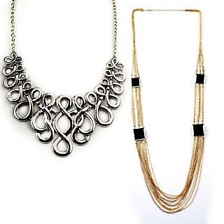Jazz Jewellery Gold and Silver Plated Combo Necklace Set Girls And Women(JNK17)