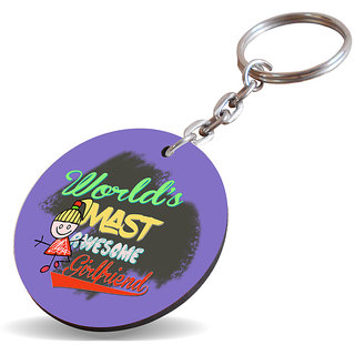 Sky Trends New WorldS Mast Awesome Girlfriend With Colorful Best Gifts Wooden Keychain