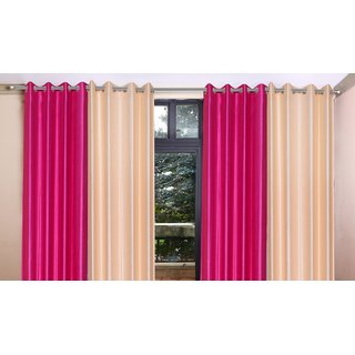 Brabuon Pink And Beige Eyelet Window Curtains (Set Of 4)