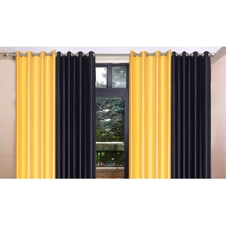 Brabuon Yellow And Black Eyelet Window Curtains (Set Of 4)