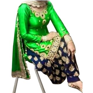 Surat Tex Green Color Party Wear Embroidered Georgette Semi-Stitched Salwar Suit-I164DLAOS7