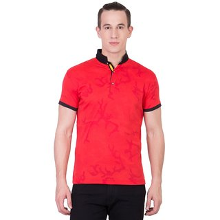 Cliths Mens Red Cotton Printed T-Shirt HS-168-Red