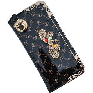 NWC Women Modern Dynamic Fashionable Premium  Wallet, Color- Black  Gold