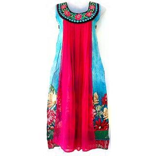 Cotton Chiffon Sky Blue Pink Colour Kurti