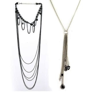 Jazz Jewellery Gold and Silver Plated Combo Necklace Set (JNK31)