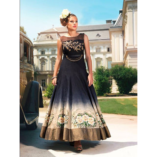 Craftliva Black  Navy Blue Embroidered  Printed Satin Silk Anarkali Suit