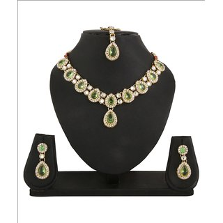 Adoreva Green Kundan Necklace Earrings Mang Tika Set for women-564