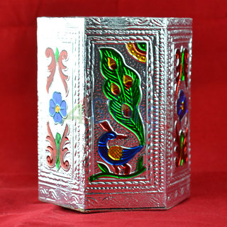 Amaging Silver Platted Meenakari Pen Holder