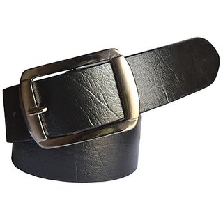 Sunshopping Mens Black Leatherite Pin-Hole Buckle Belt (Synthetic leather/Rexine)