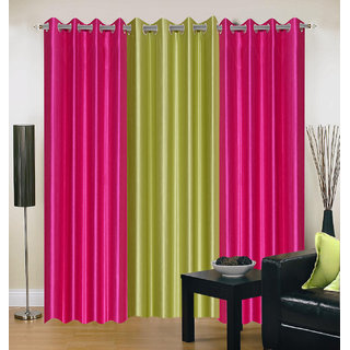 Brabuon Pink and Light Green Plain Eyelet Curtains (Set of 3)