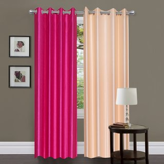 Brabuon Pink and Beige Plain Eyelet Curtains (Set of 2)