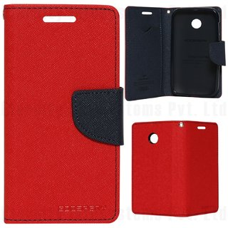 New Mercury Fancy Diary Wallet Flip Case Back Cover for Lenovo P1M (Red)