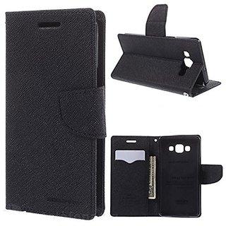 New Mercury Fancy Diary Wallet Flip Case Back Cover for Lenovo P1M (Black)