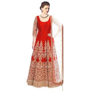 Fabfirki Red Silk Anarkali Semi Stitched Dress Material