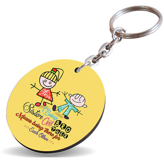 Sky Trends Being Sister And Brother Means Being There For Each With Yellow Gifts Wooden Keychain