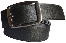 Black Leatherite Men's Belt With Pin-Hole Buckle