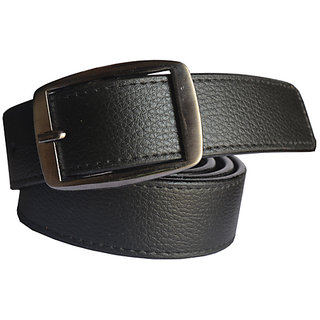 Black Leatherite Men's Belt With Pin-Hole Buckle (Synthetic leather/Rexine)