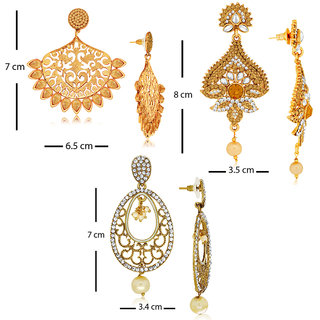 Spargz Combo of 3 Pair Designer Earring Studded with AD Stone