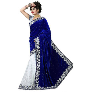 DesiButik Blue & White Velvet Embroidered Saree With Blouse