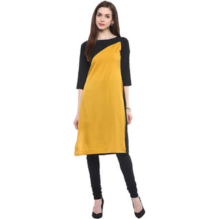IVES Black Crepe Round Neck 3/4th Sleeve Solid Kurti